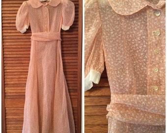 1930s Novelty Print Bird Crane Gown 30s Pink Formal Evening Wedding Dress