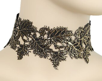 Gold & Black Leaf Lace Choker
