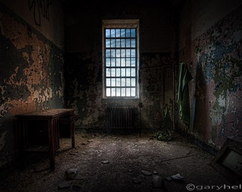 Old Room with Desk, Large Window, Abandoned Asylum, HDR, Urban Exploration, Color Photography Print, Signed.