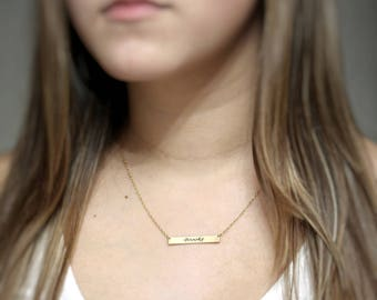 Gold Name Necklace | Custom name Bar Necklace | Personalized Gold | Rose Bar Necklace | Personalized Sterling Silver Name Bar Necklace.