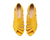 Gilly yellow flat sandals, handmade leather sandals