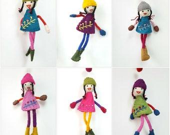 FREE Shipping- Sustainable Cute Felt Little Girl Doll Wall Hangers felt Bunting banner home decor