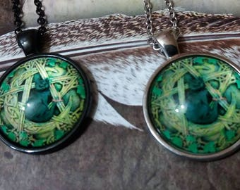 Witch Cabochon, Black Cat, Wiccan necklace, Wicca, pentacle, witch, glass cabochon