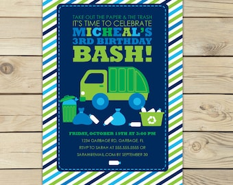 Garbage truck birthday invitation garbage truck invitation printable boy birthday invitation garbage truck party garbage truck birthday filmwisefo Image collections