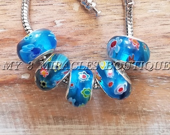 BLUE Murano Glass Large Hole Beads - Boho Millefiori European Style Charms - Bulk Lot Beads - fits Bracelets Necklaces - DIY Jewelry Gift