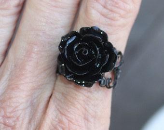 Black Rose Ring - Black Brass Adjustable Band - Black ring, black jewelry, goth ring, gothic jewelry, filigree ring, filigree jewelry