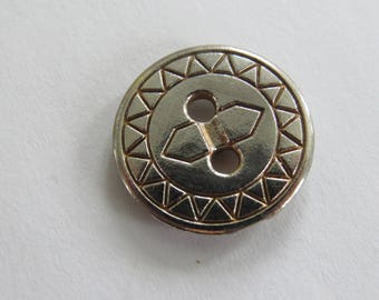 Button * vintage silver geometric patterns