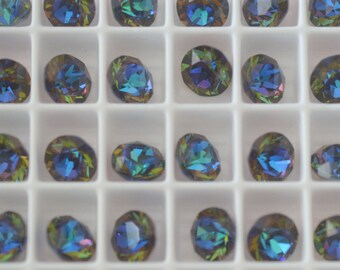 12 pieces 1088 Aqua Green Sphinx 8mm (39ss) Swarovski Crystal Chatons with After  Market Matte Custom Coating