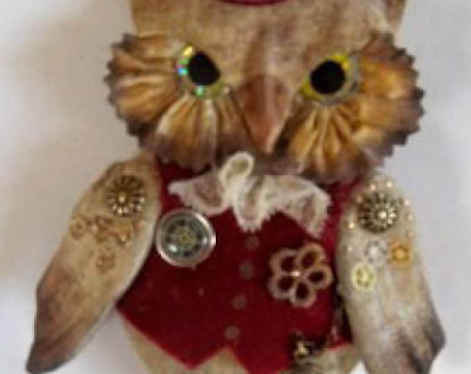 """LL520E - OWLIVER  7"""" Steampunk Owl Cloth Bird Doll Pattern - PDF Download Doll Making Sewing Pattern by Laura Lunsford"""