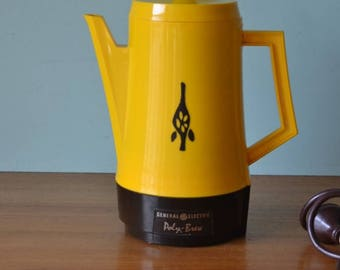 Vintage Poly brew electric kettle yellow funky