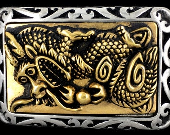 Vintage Chinese Dragon Fantasy Creature Mens Dress Belt Buckle