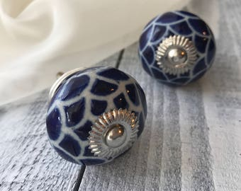 Cobalt Blue Round Tomato Knobs, Ceramic Drawer Pulls, Cabinet Hardware Knob, Item #540775176