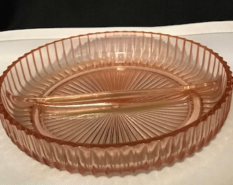 Vintage Pink Glass Dish Divided Serving  Dish SALE PRICE was 14.99 now 12.00