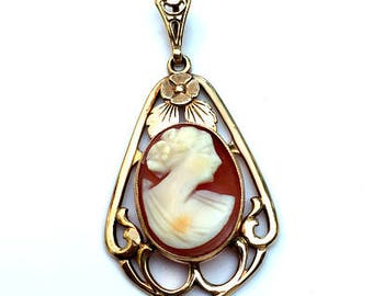10k Solid Rose Gold Setting, Antique, Hand Carved, Conch Shell, Cameo Pendent/Brooch, Victorian Cameo,
