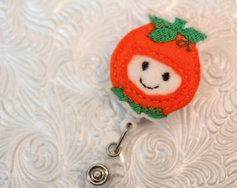 Baby pumpkin - professional badge reel - badge clip - badge holder - retractable badge reel - felt badge reel - name badge holder - nurse