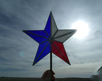 Stained Glass Texas Star, Patriotic Christmas Tree Topper Star, Heirloom Tree Decoration