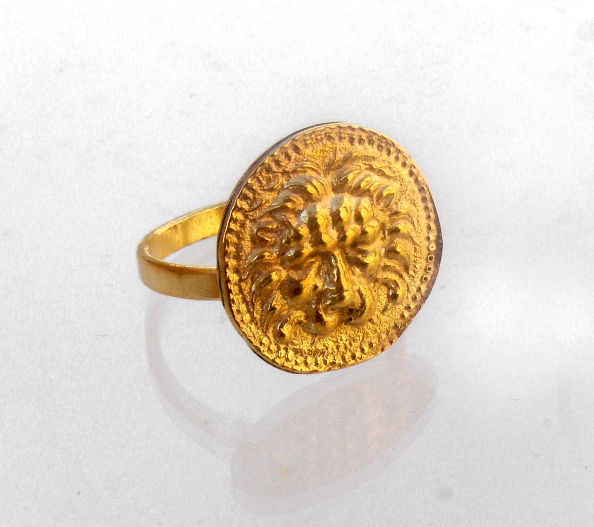 Lion Zodiac Ring Mens Coin Ring Greek Jewelry Ancient