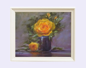 Oil Painting Still Life, Christmas Rose, yellow rose, Painting Roses, Gift for her, Wall decor, Wall Art, Print, Giclee , Barbara Applegate,