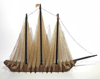 Vintage Brutalist String Art Model Sailing Ship