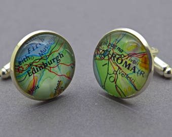 Silver Map cufflinks / Custom cufflinks / Wedding cufflinks / Groom cufflinks / Best man cufflinks / Silver plated cufflinks / Gold plated