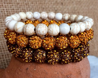 Gold and copper pave rhinestone and white gemstone stacking bracelet set