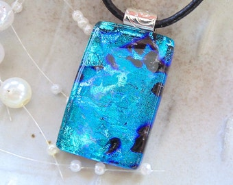Green Necklace, Turquoise, Fused Glass Jewelry, Dichroic Pendant, Necklace Included, A11