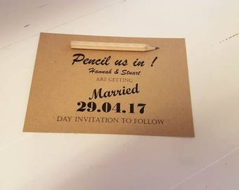 Handmade Save the Dates Rustic wedding pencil us in save the date invitations