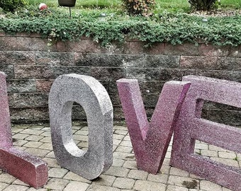 Wedding table decor- wedding reception- large block letters- Large Styrofoam Name - White Styrofoam Name - Free Standing Letters