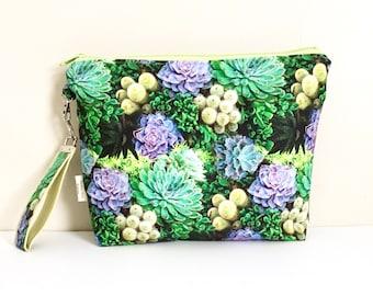 Succulent project bag Plant knitting bag medium project zipper bag and wristlet