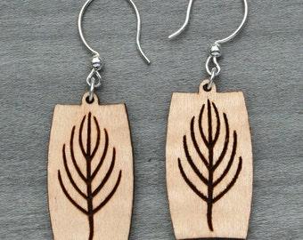 Maple veneer earring