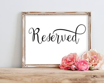 Wedding Reserved Sign, Reserved Wedding Sign, Reserved Table Sign, Reserved Signs For Wedding, Reserved Sign Printable, Reserved Chair Sign