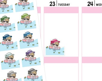 Swimming Planner Stickers, Swimming Stickers, Beach Stickers, Beach Day Stickers, Cute Stickers