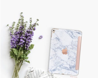 iPad Case . iPad Pro 10.5 . Marble Makrana White with Rose Gold Smart Cover Hard Case for  iPad mini 4  iPad Pro  New iPad 9.7 2017