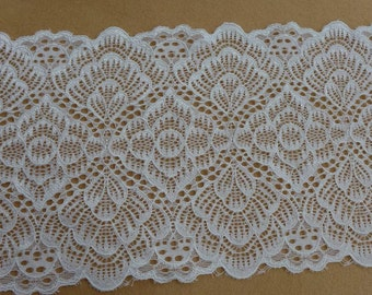 """Off white Stretch Lace 6.3"""" wide Elastic Lace Trim for Headbands, Lingerie, Women Gloves, Altered Couture"""