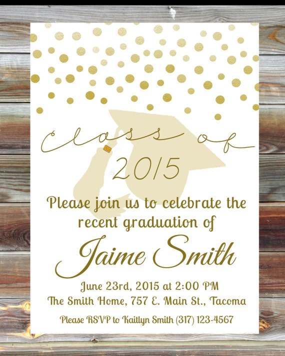 Gold graduation open house invitation custom graduation like this item filmwisefo Images