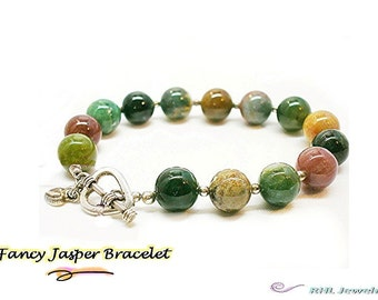 Fancy Jasper Bracelet, Sterling Silver Heart Toggle, Chakra Bracelet B2007-4