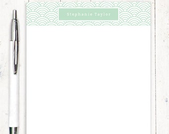 personalized notePAD - FISH SCALE PATTERN - feminine stationery - patterned paper - letter writing paper - girl stationary