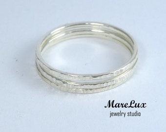 Set of 3 Ultra Thin Stacking Texturized Silver Rings, Super Thin Rings, Tiny Stacking Rings, Little Stackable Rings, Delicate Skinny Rings