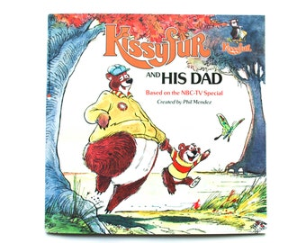 Kissyfur and His Dad created by Phil Mendez, 1986, Vintage children's book, Children's library, Paperback book, Bear book