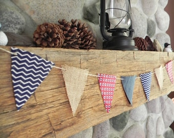Rustic American Pennant- Red White and Blue Banner for the Home-ready to ship
