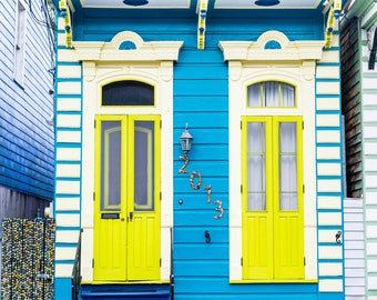 New Orleans Blue Yellow Marigny Home Greeting Cards