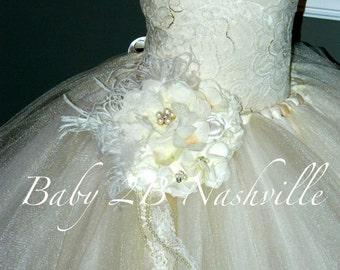 Ivory Dress Vintage Dress Sequin Dress Lace Dress Flower Girl Dress Tulle Dress Party Dress Toddler Tutu Dress Girls Dress