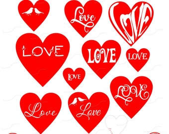 Hearts of Love, Love, Hearts, Red, Heart, Wedding, Digital Cut File, Vinyl Cutting File, SVG, DXF, EPS, Silhouette, Cricut