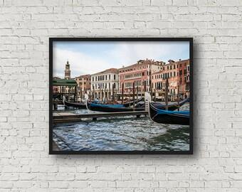 Venice Boats Print / Digital Download / Fine Art Print/ Wall Art / Home Decor / Color Photograph / Venice Italy / Travel Photography