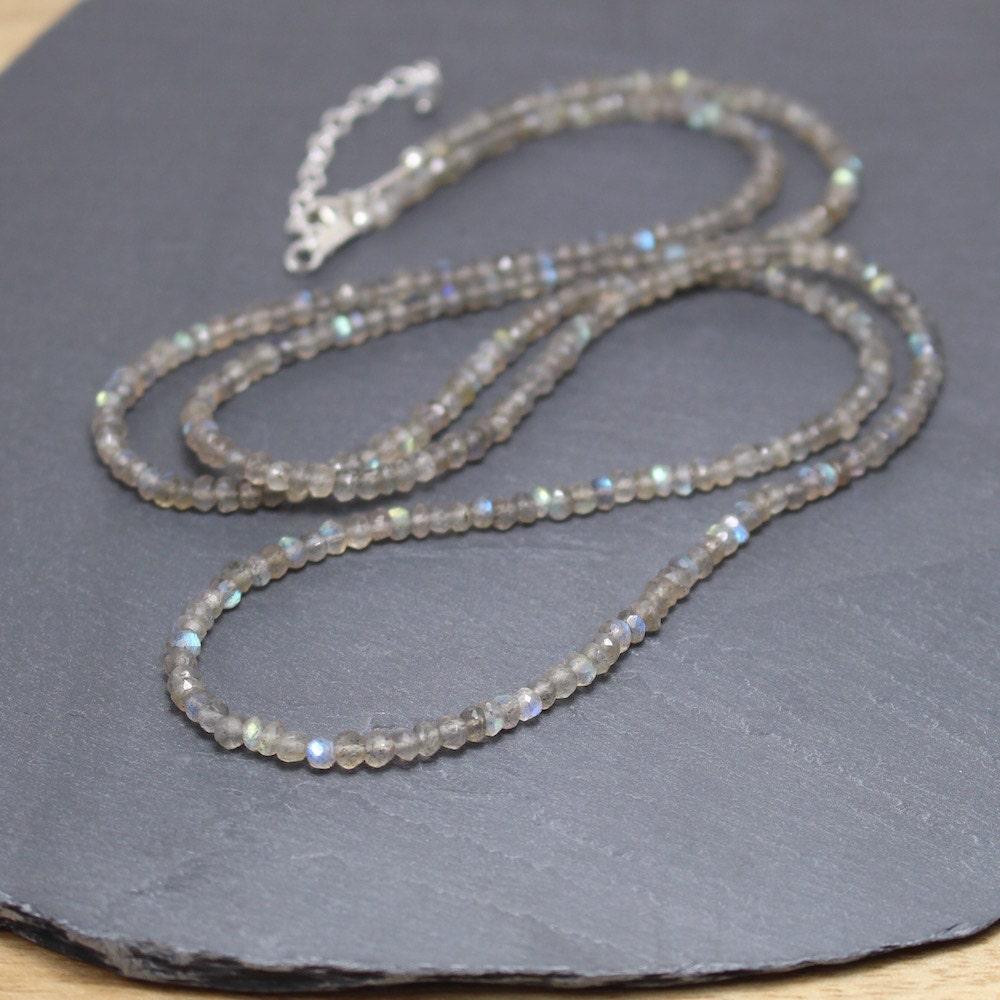 Labradorite Beaded Necklace. Sterling Silver, Rose or Gold Filled ...