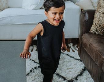 Mini Me Tank Romper (black) - kids romper, toddler romper, baby romper, mommy and me romper, harem romper, onesie, romper, black romper