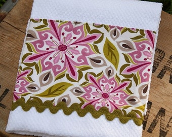 Lavender and Green Kitchen Towel or Pretty Guest Towel Kate Spain Central Park Fabric