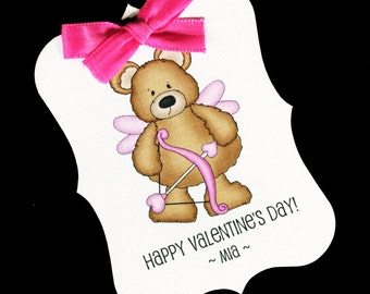 20 Valentine Tags - Personalized Tags - Valentines Day - Favor Tags - Cookie Tags - Bag Tags - Valentine Candy Tags - Bear With Bow Arrow