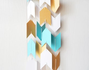 Arrow Garland in Blue White and Gold