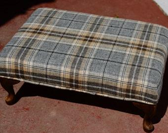 Tartan Footstool Handmade in Scotland UK - Large - Plaid - Abraham Moon Tweed - Wedding Gift - Scottish Heritage - Home Furnishing - Artisan